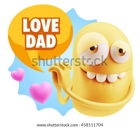 3d Rendering. Emoji saying Love Dad with Colorful Speech Bubble.