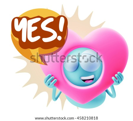 3d Rendering. Emoticon Character Face Expression saying Yes with Colorful Speech Bubble.
