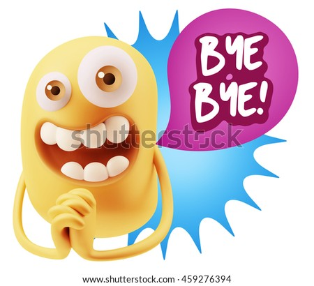 3d Rendering. Emoticon Face saying Bye Bye with Colorful Speech Bubble.