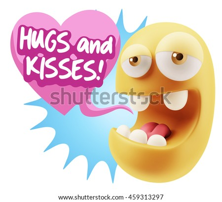 3d Rendering. Emoticon Face saying Hugs And Kisses with Colorful Speech Bubble.
