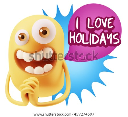 3d Rendering. Emoticon Face saying I Love Holidays with Colorful Speech Bubble.