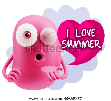 3d Rendering. Emoticon Face saying I Love Summer with Colorful Speech Bubble.