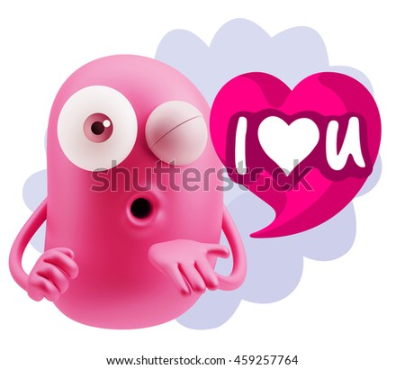 3d Rendering. Emoticon Face saying I Love U with Colorful Speech Bubble.