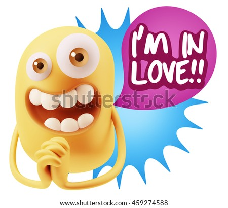 3d Rendering. Emoticon Face saying I'm in Love with Colorful Speech Bubble.