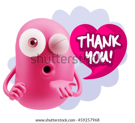 3d Rendering. Emoticon Face saying Thank You with Colorful Speech Bubble.