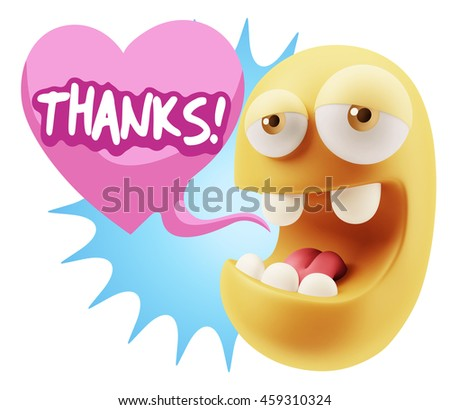3d Rendering. Emoticon Face saying Thanks with Colorful Speech Bubble.