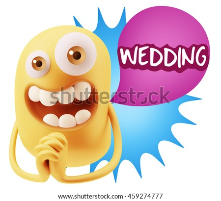 3d Rendering. Emoticon Face saying Wedding with Colorful Speech Bubble.