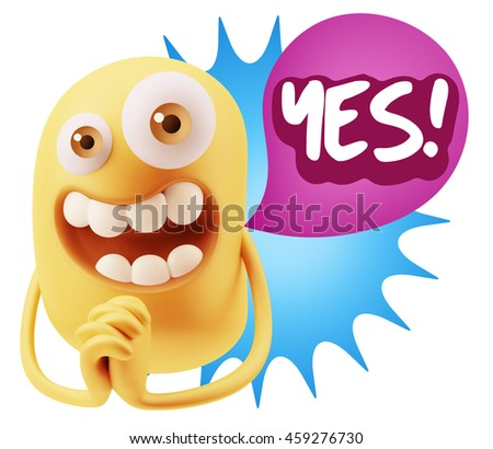 3d Rendering. Emoticon Face saying Yes with Colorful Speech Bubble.
