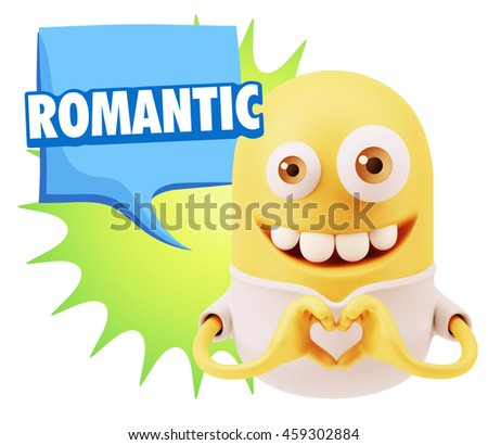 3d Rendering. Emoticon saying Romantic with Colorful Speech Bubble.