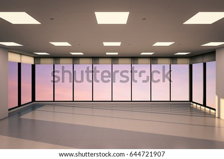 office glass windows. 3d rendering empty office space with glass windows