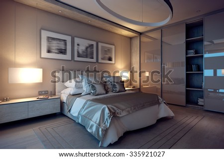 3D rendering evening cozy bedroom in the modern house. Huge bed with numerous pillows is dominates the room. The interior is decorated with wood and natural materials.