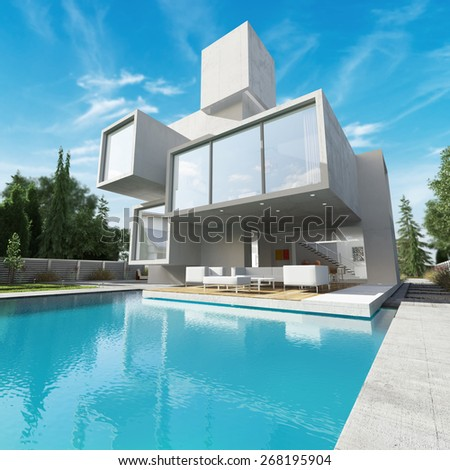 3D rendering,  External view of a contemporary house with pool  - stock photo