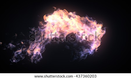 3d rendering fire flame bursting in one direction