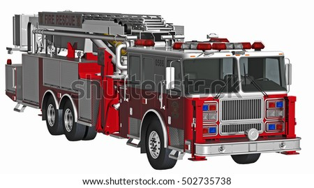 3d rendering fire truck isolated on white
