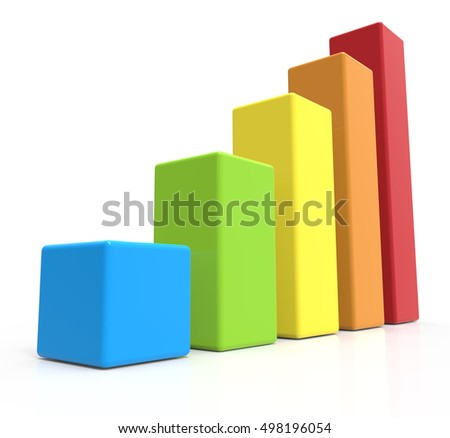 3d rendering five colored bar chart, isolated white background, left leaning