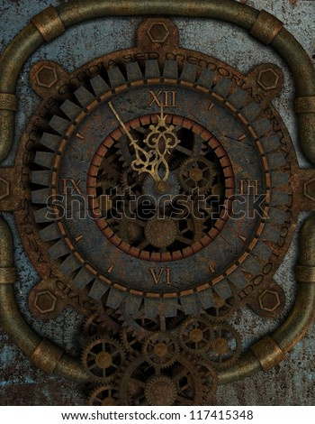 3D rendering Five to Twelve on a Steampunk Clock - stock photo