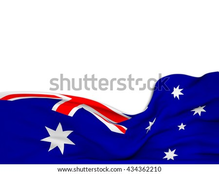 3D rendering Flag of Australia,waving over a white background - stock photo