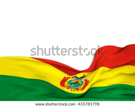 3D rendering Flag of Bolivia,waving over a white background