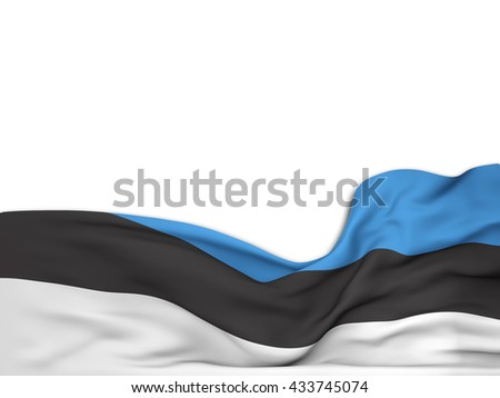 3D rendering Flag of Estonia,waving over a white background - stock photo