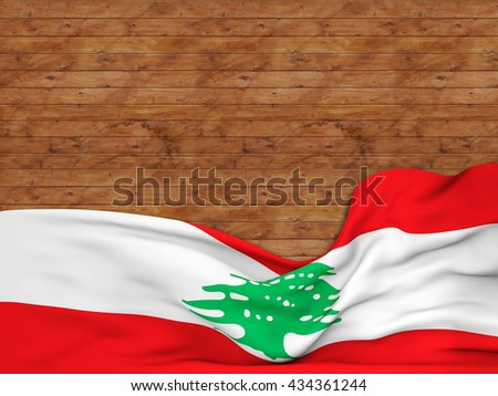 3D rendering Flag of Lebanon, waving over a background of wooden strips - stock photo