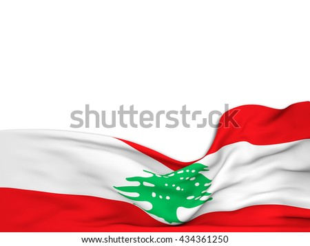 3D rendering Flag of Lebanon, waving over a white background - stock photo