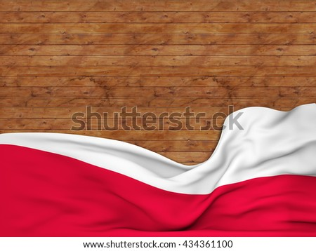 3D rendering Flag of Poland, waving over a background of wooden strips - stock photo