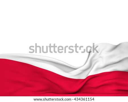 3D rendering Flag of Poland,waving over a white background - stock photo