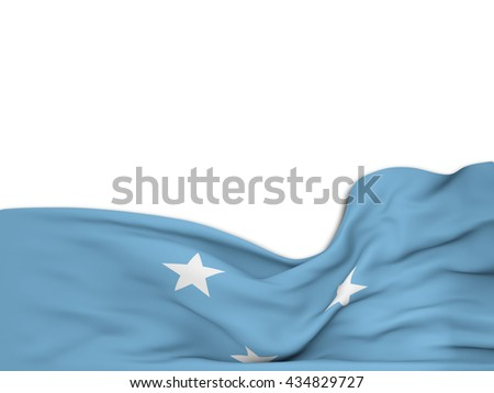 3D rendering Flag of the F.S. Micronesia,waving over a white background