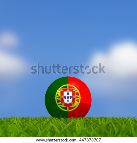 3D Rendering, Football Portugal flag on grass soccer field with blue sky background.