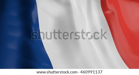 3d rendering France flag waving