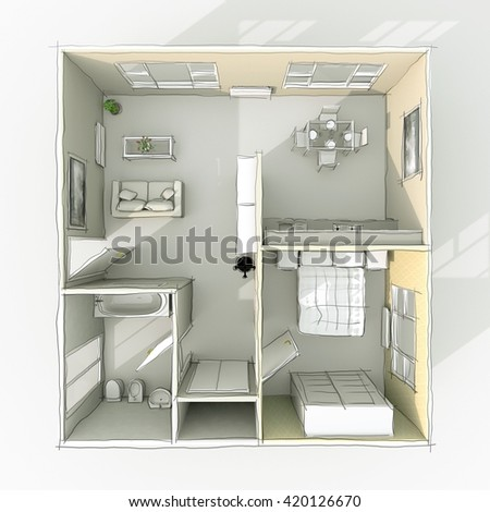 3d Rendering Freehand Sketch Home Apartment With Furnishings Room Bathroom Bedroom Kitchen