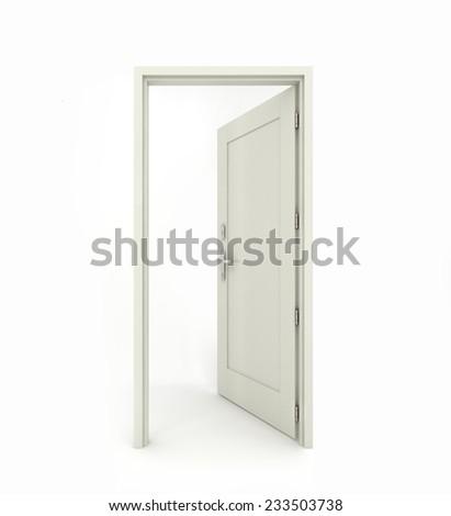 3D rendering freestanding open door isolated on white background - stock photo