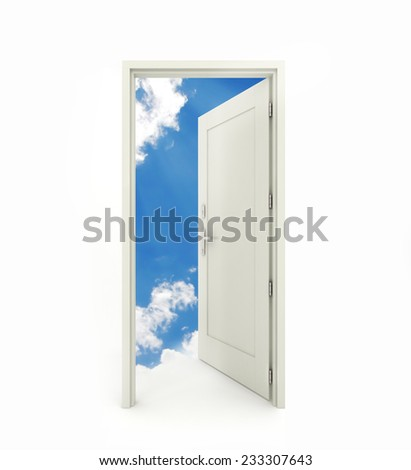 3 D rendering freestanding open door with white clouds blue sky background isolated on white background