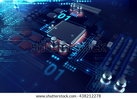 3d rendering futuristic blue circuit board background illustration