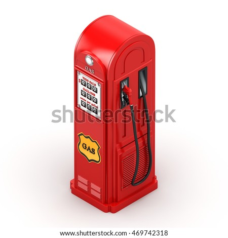 3D rendering gas station in retro style