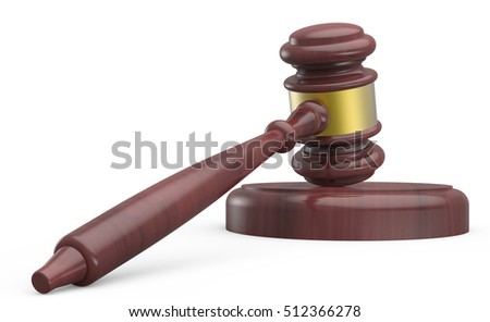 3D rendering gavel, gavel for justice or auction concept isolated on white background