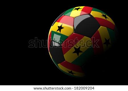 3d rendering  Ghana soccer ball on dark  background - stock photo