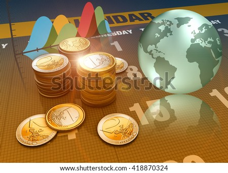 3D rendering, Global economics graph and euro coins as finance concept. - stock photo