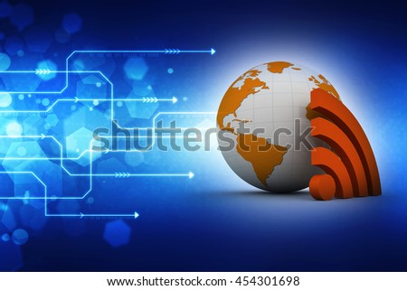 3d rendering globe icon - WIFI , RSS