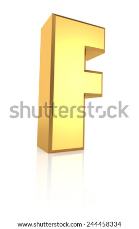3d rendering golden letter F isolated on white background - stock photo