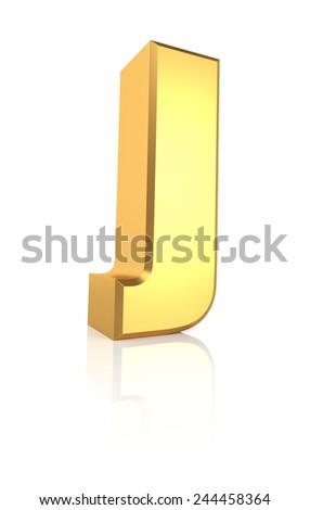 3d rendering golden letter J isolated on white background - stock photo
