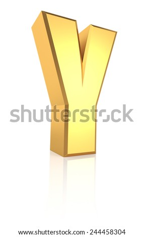 3d rendering golden letter Y isolated on white background - stock photo