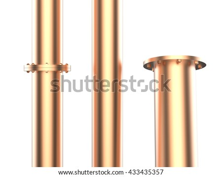 3d rendering golden metal pipe with flange joint