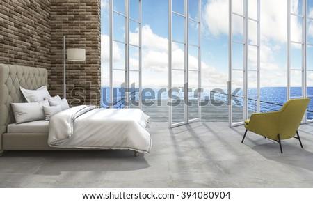 3d rendering good sea view bedroom - stock photo
