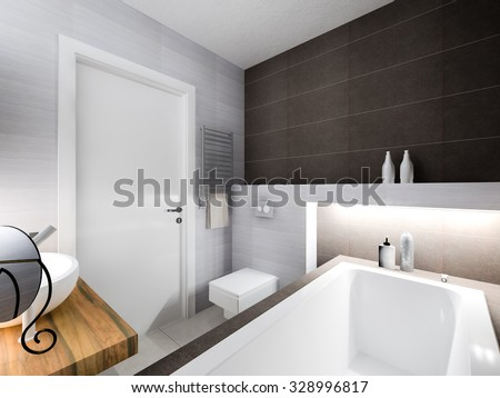 3d rendering gray bathrooms with backlight