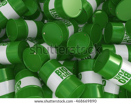 3D rendering green barrels for biofuels with lettering