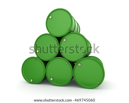3D rendering green barrels for biofuels with white lettering