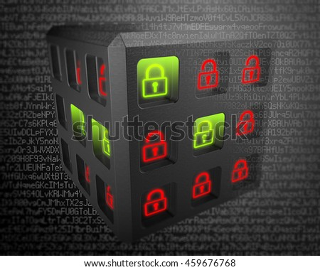 3D rendering, Green lock locked safe, red padlock unlocked risk of lost for digital data. Security of information systems background. - stock photo