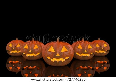 3d rendering. Halloween ghost pumpkins with reflection on the floor with copy space background