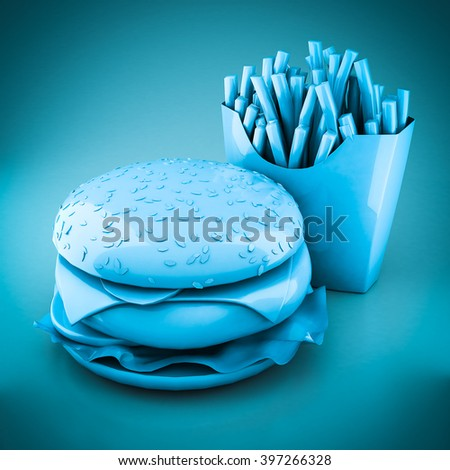 3D rendering hamburger and fries on a blue background - stock photo